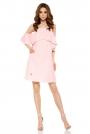 Różowa Wyjątkowa Trapezowa Sukienka z Falbanką z Odkrytymi Ramionami