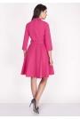Różowa Sukienka Rozkloszowana Kopertowa z Paskiem