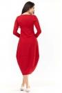 Czerwona Dzianinowa Midi Sukienka Bombka z Długim Rękawem