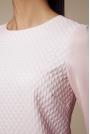 Różowa Żakardowa Bluzka z Długim Rękawem