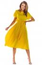 Żółta Rozkloszowana Midi Sukienka z Krótkim Kimonowym Rękawem