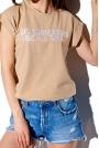 T-shirt z Haftowanym Napisem - Bezowy