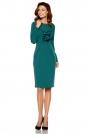 Ciemno Zielona Elegancka Wizytowa Sukienka z Żabotem