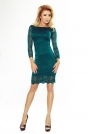Zielona Sukienka Wizytowa z Koronki