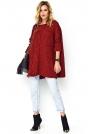 Luźny Sweter z Warkoczem na Przodzie - Bordowy