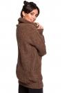 Karmelowy Oversizowy Sweter-Tunika z Golfem