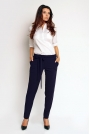 Granatowe Eleganckie Klasyczne Spodnie z Wiązanym Paskiem