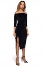 Welurowa Sukienka Ołówkowa ze Zmysłowym Dekoltem - Granatowa