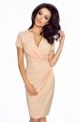 Łososiowa Elegancka Sukienka z Założeniem Kopertowym