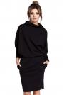 Czarna Sukienka z Wysokim Dekoltem
