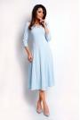 Niebieska Elegancka Rozkloszowana Sukienka z Dekoltem V