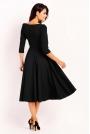 Czarna Elegancka Rozkloszowana Sukienka z Wykładanym Kołnierzem