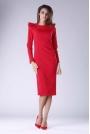 Czerwona Sukienka o Dopasowanym Fasonie z Falbankami