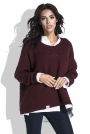 Bordowa Luźny Sweter z Dekoltem V