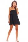 Czarna Zwiewna Mini Sukienka z Hiszpańskim Dekoltem