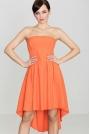 Modna Sukienka z Odkrytymi Ramionami Wydłuzonym Tyłem Pomarańczowa