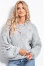 Luźny Sweter o Grubym Splocie - Szary
