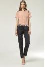 Eleganckie Spodnie z Kontrastową Lamówką - Granatowy