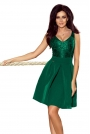 Zielona Koktajlowa  Rozkloszowana Sukienka z Koronką
