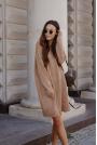 Sukienka z Golfem i Guzikami - Kamelowa
