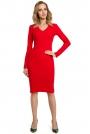 Czerwona Dopasowana Sukienka z Prążkowanej Dzianiny z Dekoltem V