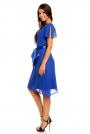 Niebieska Zwiewna Szyfonowa Sukienka z Wiązanym Paskiem