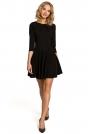 Czarna Wizytowa Sukienka z Zakładkami przy Dekolcie