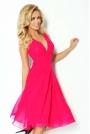 Różowa Sukienka Wieczorowa z Szyfonu z Dekoltem V