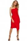 Czerwona Wieczorowa Asymetryczna Sukienka z Odkrytymi Ramionami