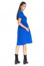Niebieska Asymetryczna Sukienka z Krótkim Rękawem