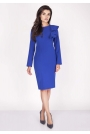 Kobaltowa Sukienki Ołówkowa Midi z Falbaną na Ramieniu