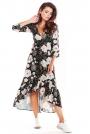 Brązowa Asymetryczna Sukienka Midi z Florystycznym Motywem