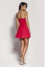 Malinowa Mini Sukienka z Odkrytymi Ramionami