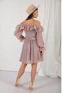 Rozkloszowana Sukienka z Odkrytymi Ramionami - Cappuccino