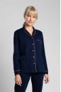Bawełniana Koszula od Piżamy z Wypustkami - Granatowa