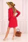 Czerwona Rozkloszowana Krótka Sukienka z Górą Typu Polo