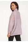 Różowy Ciepły Oversizowy Sweter z Golfem