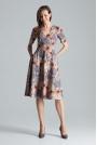 Klasyczna Rozkloszowana Sukienka za Kolano z Dekoltem V Wzór 108