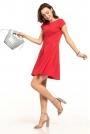 Czerwona Rozkloszowana Sukienka Dzianinowa na Lato