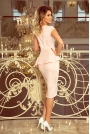 Elegancka Ołówkowa Sukienka Midi z Asymetryczną Baskinką - Jasnoróżowa