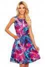 Trapezowa Letnia Sukienka z Wzorem - Niebiesko Różowa