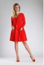 Czerwona Sukienka o Luźnym Fasonie Zapinana na Guziki
