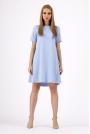 Błękitna Trapezowa Wygodna Sukienka z Krótkim Rękawem
