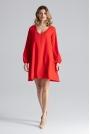 Czerwona Sukienka Trapezowa z Długim Rękawem