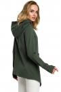 Zielona Zapinana Asymetryczna Bluza z Kapturem