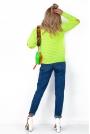 Limonkowy Krótki Kardigan Marynarka z Kolorowymi Łatami