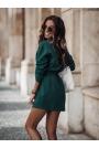 Dresowy Komplet Bluza + Trapezowa Mini Spódnica - Zielony