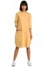 Żółta Luźna Sukienka Bombka z Ozdobnymi Przeszyciami