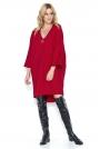 Czerwona Oversizowa Sukienka z Szerokim Rękawem ¾