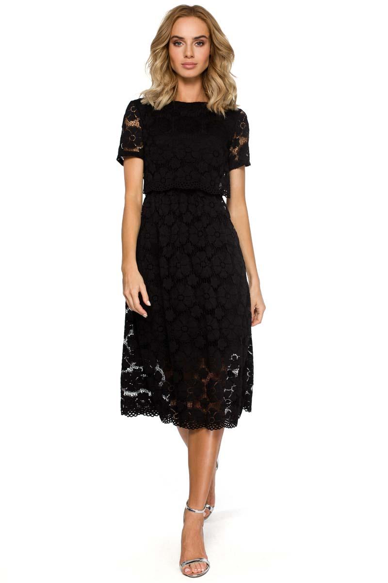 6b7be3bd7c Czarna Koronkowa Rozkloszowana Midi Sukienka z Krótkim Rękawem ...